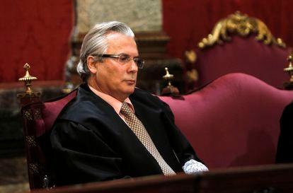 Baltasar Garzón, durante el juicio contra él en el Tribunal Supremo, en el que se enfrenta a la acusación de prevaricación por ordenar las escuchas en la instrucción del 'caso Gürtel', en 2012.