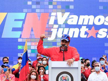 Nicolás Maduro en un acto de cierre de campaña el jueves en Caracas.