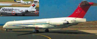 El MD-83 matrícula OE-LMM de Mapjet (foto grande) enfila la pista de despegue de Lanzarote sin los flaps puestos, el 5 de junio de 2007. Un piloto que estaba en otro avión tomó esta foto. Los flaps salen de la parte posterior del ala y sustentan el avión al despegar. Al igual que el accidente de Barajas, las alarmas no alertaron de la posición de los flaps. Se rozó la tragedia, pero los pilotos lograron remontar el vuelo. en la foto pequeña, un avión similar con los flaps puestos.