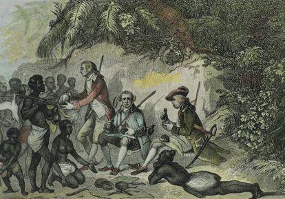 James Cook en Tahití, en un grabado del siglo XVIII.