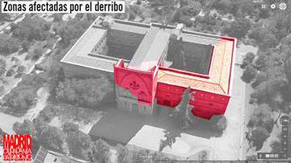 Zonas del convento afectadas por el derribo parcial.