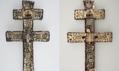 La cruz románica de Anglesola, fabricada en Jerusalén en el siglo XII, y que en su interior ocultaba otra cruz y un conjunto de valiosas reliquias.