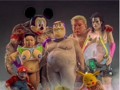 Beeple reconoce el aspecto perturbador de algunos de los tótems que se repiten en sus obras diarias: los Buzz Lightyears desnudos sin genitales, el Kim Jong-un con pechos, el Pikachu daliniano o el Winnie the Pooh adicto al gimnasio.