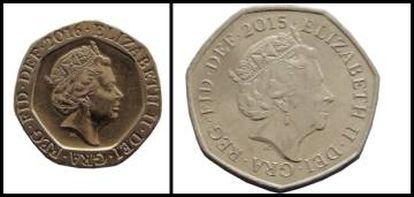 Monedas de 20 peniques (izquierda) y 50 peniques (derecha) de Reino Unido.
