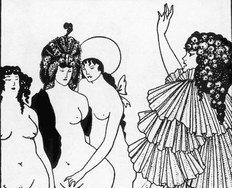 Lisístrata convence a las mujeres de Atenas de que no tengan sexo con los hombres hasta que no paren la guerra en una ilustración de Aubrey Beardsley (1896).