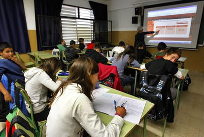 Clase en un instituto de Mataró (Barcelona).