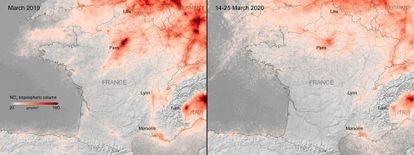 Concentración de dióxido de nitrógeno en Francia durante 10 días.