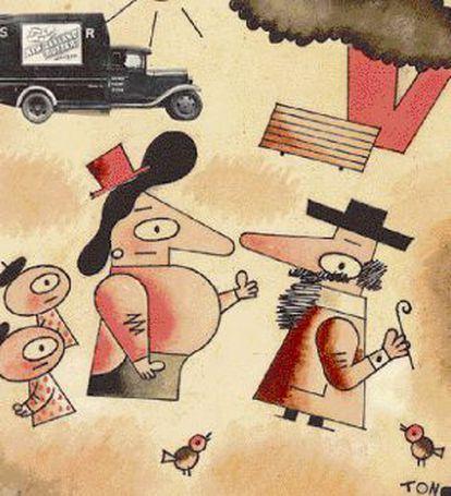 """""""¡Caramba, don Jerónimo! Está usted muy cambiado?' 'Es que no soy don Jerónimo'. 'Pues más a mi favor"""", ilustración de Tono para la portada del primer número de'La Codorniz', del 8 de junio de 1941."""