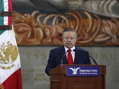 El presidente de la Suprema Corte de Justicia, Arturo Zaldívar, durante una rueda de prensa este miércoles en Ciudad de México.