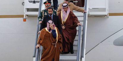 El heredero de Arabia Saudí a su llegada a la Base Aérea de Torrejón, el pasado abril.