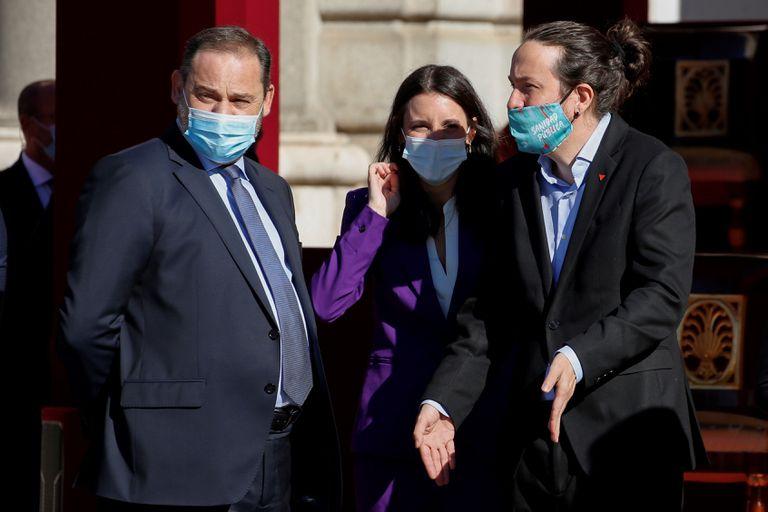 Los ministros José Luis Ábalos e Irene Montero y el vicepresidente segundo Pablo Iglesias, en una imagen del pasado 12 de octubre.