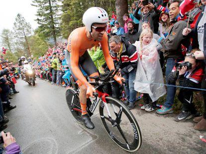 Tom Dumoulin, durante la contrarreloj del mundial de ciclismo en Bergen.
