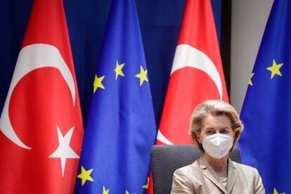 La presidenta de la Comisión Europea, Ursula von der Leyen, en una videollamada la semana pasada en Bruselas.