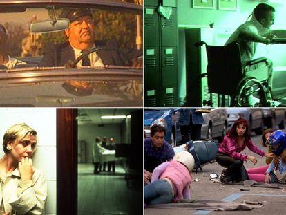 Capturas de cuatro campañas de concienciación vial emitidas en televisión desde los años 80.