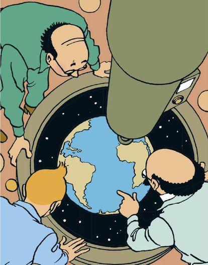 Viñeta de Aterrizaje en la Luna, obra clave de Hergé.