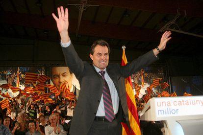 Artur Mas, este viernes por la noche a su llegada al mitin de CiU en Reus