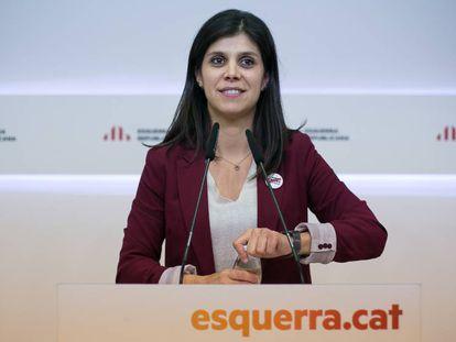 La portavoz de ERC, Marta Vilalta, da los resultados de la consulta a la militancia. En vídeo, sus declaraciones.