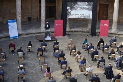 Presentación de la 70ª edición del Festival de Música y Danza de Granada, en el Palacio de Carlos V de la Alhambra.