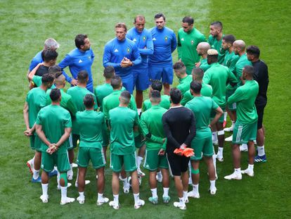 La selección de Marruecos en el entrenamiento del jueves.