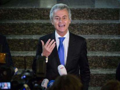 Geert Wilders en una rueda de prensa en La Haya el sábado.