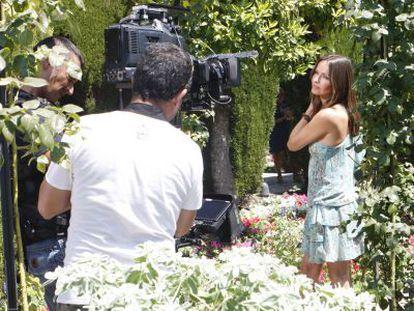 Sharon Corr, durante la grabación de un videoclip en el Generalife.