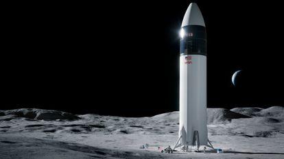 Recreación de una nave Starship, desarrollada por Space X para llevar astronautas de la NASA a la luna.