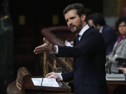 Pablo Casado, durante su intervención en el debate.