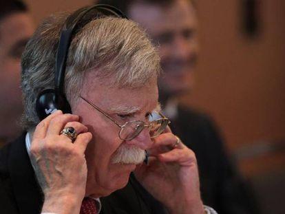 John Bolton, asesor de Seguridad Nacional de la Casa Blanca, este martes en Lima (Perú). En vídeo, declaraciones de Bolton.