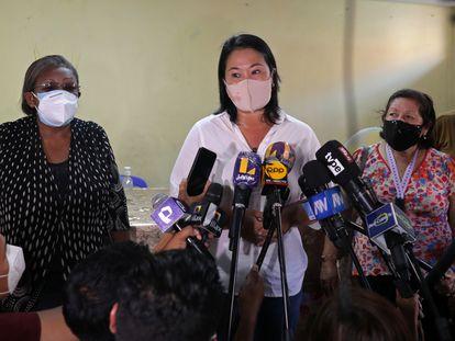 Keiko Fujimori, candidata presidencial en Perú, durante una conferencia de prensa el pasado 16 de abril.