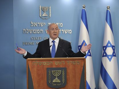 El primer ministro de Israel, Benjamin Netanyahu, durante el anuncio del acuerdo en rueda de prensa, este jueves.