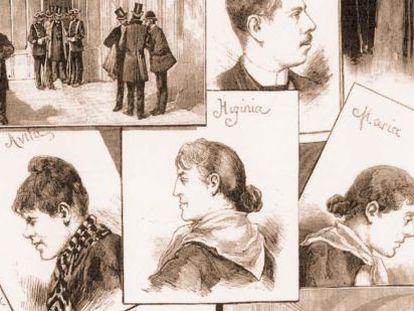 Ilustración de la época con los principales personajes del caso recopilada en el libro 'Los procesos célebres seguidos ante el Tribunal Supremo en sus 200 años de historia'.