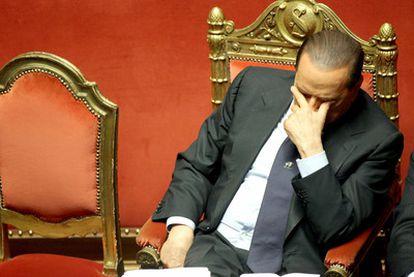 El primer ministro italiano, Silvio Berlusconi, ayer en el Senado durante el debate sobre la moción de censura.
