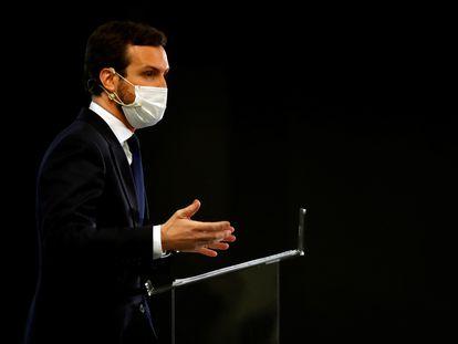 El líder del PP, Pablo Casado, en un acto público esta semana.
