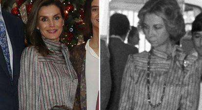 Izquierda, Reina Leticia en enero de 2018;  y a la derecha, Donya Sofia en 1984.