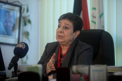 Hanan Ashrawi, miembro de la OLP, en diciembre de 2014 en Ramala.