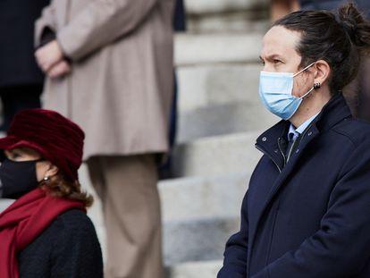 El vicepresidente primero del Gobierno, Pablo Iglesias, durante el acto de aniversario de la Constitución.
