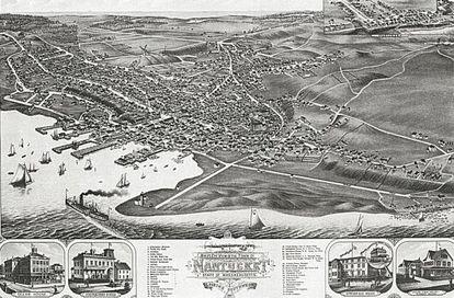 Una vieja imagen de Nantucket, cuando esta localidad era centro neurálgico de la pesca ballenera.
