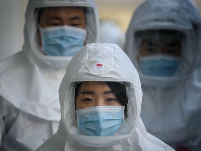 Trabajadores sanitarios en la localidad de Daegu, la más afectada de Corea del Sur por el coronavirus.
