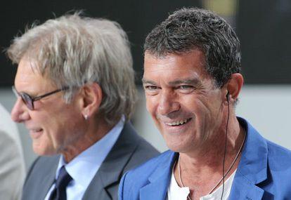 Harrison Ford y Antonio Banderas, en la presentación de 'Los mercenarios 3'.