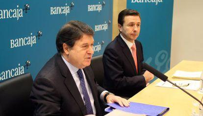 José Luis Olivas, a la izquierda, y Aurelio Izquierdo cuando dirigían el Grupo Bancaja.