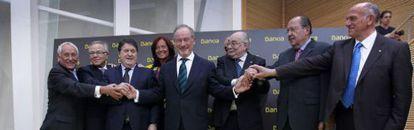 Foto de familia de los consejeros de Bankia. / CARLES FRANCESC