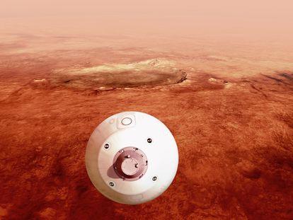 """Fotografía cedida este miércoles por la Administración Nacional de Aeronáutica y el Espacio (NASA) donde aparece una ilustración del """"aeroshell"""" que contiene el rover Perseverance mientras gira en preparación para un aterrizaje seguro sobre la superficie de Marte."""
