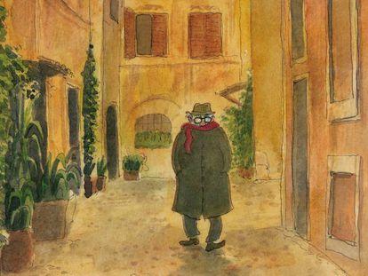 Portada de la novela gráfica 'Fellini en Roma'.