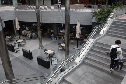 La zona empresarial de Azca, en Madrid, semidesierta debido al teletrabajo en una imagen de finales de septiembre.