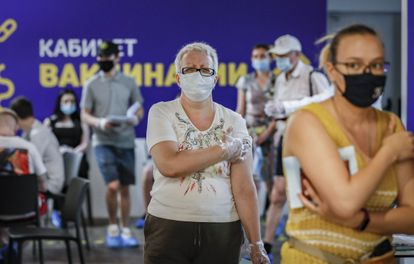 Vaccination center for the Sputnik V vaccine, in a Moscow shopping center, last Friday.