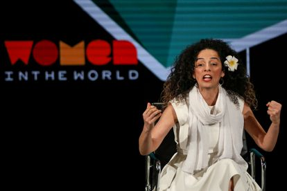 La periodista Masih Alinejad, en un congreso en 2019, en Nueva York.