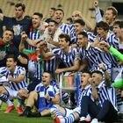 Sevilla 03/04/21. Estadio de La Cartuja, final de la Copa de Rey entre el Athletic Club de Bilbao y la Real Sociedad. la Real campeonaFoto.ALEJANDRO RUESGA