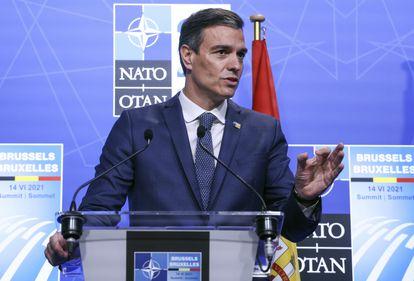 El presidente del Gobierno, Pedro Sánchez, durante la cumbre de la OTAN en Bruselas, este lunes.