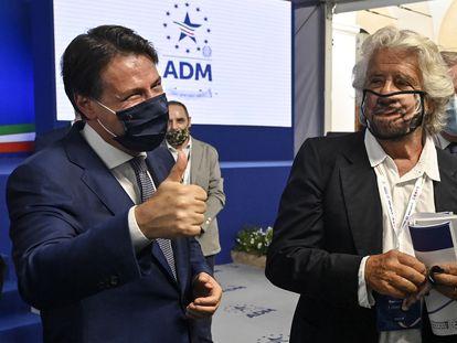 Giuseppe Conte y Beppe Grillo en Roma, en septiembre de 2020.