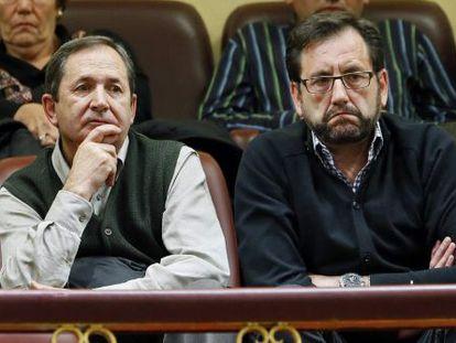 El alcalde del Condado de Treviño, Ignacio Portilla, y el de la Puebla de Arganzón, Roberto Ortiz, asisten al pleno del Congreso.